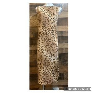 Vintage Leopard Tiger Animal Safari Print Sleeveless Midi Casual Dress Size XL